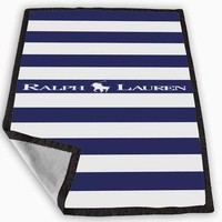 Polo Ralph Lauren Blue White Stripes Blanket for Kids Blanket, Fleece Blanket Cute and