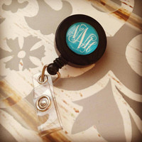 Monogrammed Badge Reel, Personalized Badge Reel, Monogrammed Gift, Nurse Gift