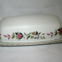 Vintage Butter Dish Regency Rose Pattern Creative Japan circa 1950s Collectible Tableware Serving Dish Gilt Edge Pink Roses Romantic Kitchen