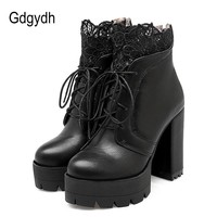 Gdgydh 2018 Autumn Women Lacing Platform Boots High Heels Female Black Platform Heels Spring Short Boots Ladies Shoes for Party