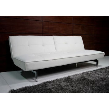 White Tufted Faux Leather Splitback Futon Sofa Bed