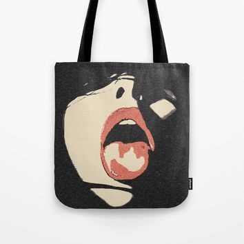 Good girl waits for her dose, submission pop art, sexy lips, erotic, seducing, sensual sketch Tote Bag by hmdesignspl