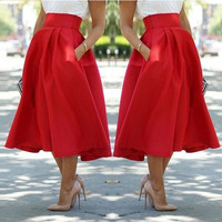 Women Autumn Red Waist Slim Billowing Safari Skirts Pure Color Below-knee Length Pocket Bubble Skirt S-XL = 5618491969