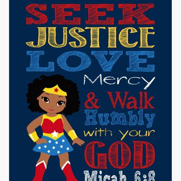 African American Wonder Woman Christian Superhero Nursery Decor Wall Art Print - Seek Justice Love Mercy - Micah 6:8 Bible Verse
