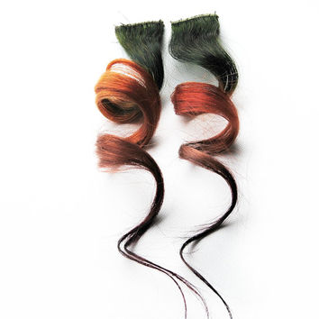 Human Hair Extension, Spring hair, extension, Black, Red, Orange, Green clip in hair, Tie Dye Colored Hair - Meteor