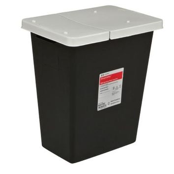 Covidien RCRA Waste Container Vertical Entry Hinged Lid Non-locking Lid Plastic