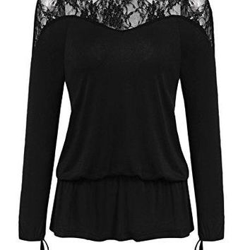 Grabsa Womens Sexy Lace Patchwork Puff Sleeve Tie Cuff Loose Peplum Boho Blouse