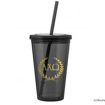 AXO Alpha Chi Omega Wreath Sorority Tumbler w. Straw