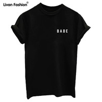 Women T shirt BABE Letters Print Shirt O-Neck Top Tee Black White Cotton Letter Casual Cartoon