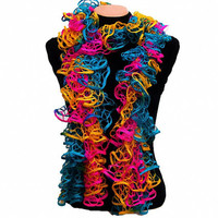 Knitted multicolor (Pink,Turquoise, Yellow) ruffled scarf by Arzu's Style