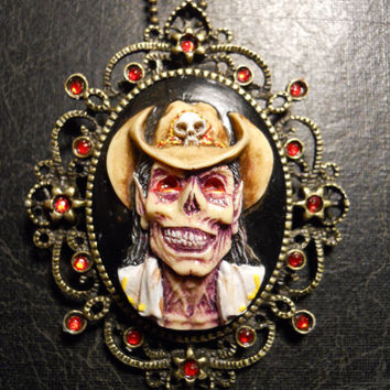 Zombie Devil Cowboy Cameo Hand Painted  Necklace with Rhinestones
