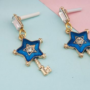 "8SEASONS Fairy Tale Collection Earrings Gold Color Blue Key Pentagram Star Clear Rhinestone 47mm(1 7/8"") x 21mm( 7/8""), 1 Pair"