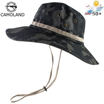 UPF 50+ Bucket Hat Men Women Outdoor Boonie Hat Summer Sun UV Protection Camouflage Cap Military Army Fishing Tactical Wide Brim