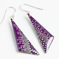 Purple geeky triangle earrings - Dangle earrings - Computer earrings - recycled circuit board