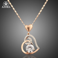 AZORA Rose Gold Plated Stellux Crystals Heart Pendant Necklace for Valentine's Day Gift of Love