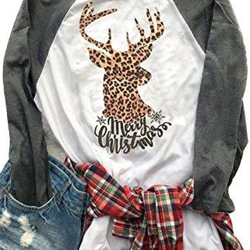 Women Christmas Deer Round Neck T Shirt Long Sleeve Letters Print Tops