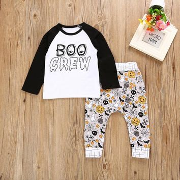 Newborn Infant Baby Boy Letter Pumpkin T shirt Tops+Pants Halloween Outfits Set  funny pattern soft material July 27