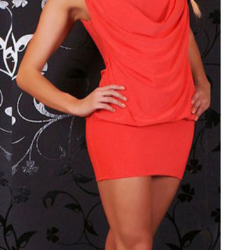 Red Cowl Neck Sequined Strap Blouson Mini Dress