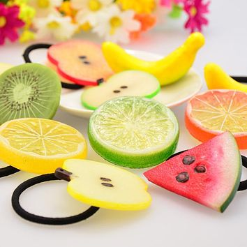 New Girl Summer Style Fruits Fashion Accessories For Women Scrunchies Elastic Hair Bands Rope Bandage Head Hairband Jewelry Gum