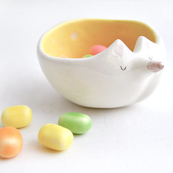Ceramic Fox Bowl with Yellow Engobe and Sgraffito of Polka Dots Inside
