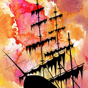 Pirate Ship Greeting Card with detachable Fine Art Print and Handmade white Envelope, Nautical Art cards, Old ship Greeting Card, Pirate Art