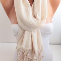 Ivory Scarf Cream Scarf Lace Scarf Oversized Scarf with Lace edge Fashion Women Accessories