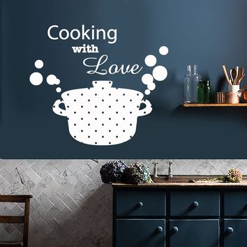 Vinyl Wall Decal Kitchen Decor Casserole Pan Food Cooking With Love Stickers (2122ig)