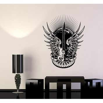 Wall Decal Music Keyboard Piano Guitar Rock Sound Skeleton Bones Vinyl Sticker Unique Gift (ed634)
