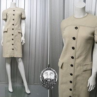 Vintage 60s Jackie O Mod Shift Dress Beige Dress Minimalist Dress Casual Day Dress Womens Medium 1960s Crimplene Secretary Office Wear