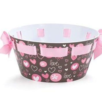 Brown and Pink Beverage Tub Chocolate Kiss Melamine