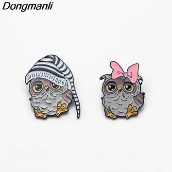 P2862 Dongmanli Best Friend Cute Owl Couple Accessories Metal Enamel Pins and Brooches for Women Men Lapel pin backpack badge