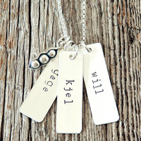 Pea Pod Three Name Mother's Necklace