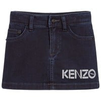 Kenzo Girls Blue Denim Logo Skirt