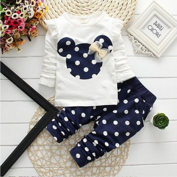 Polka Dot Minne Children Clothes Set Cotton Bow Tops T shirt & Leggings