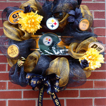 "Pittsburgh Steeler Wreath - "" Pittsburgh Pride"", Silk floral, Deco Mesh, Black and Gold, Gift, Home Decor, Housewarming"