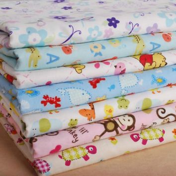 Buulqo 50*148cm cotton flannel printed baby knitting fabric DIY handmade cute baby clothing making cotton fabric