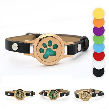 Rose gold Magnetic Dog Paw Stainless Steel Aromatherapy Essential Oil Locket Bracelet