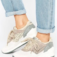 Asics Suede Gel-Respector Trainers In Khaki & Pale Grey at asos.com