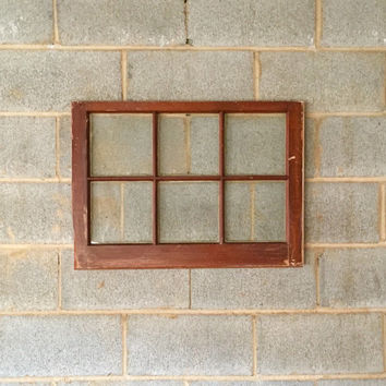 "Vintage 6 Pane Window Frame - 27""W x 20""L, Brown, Rustic, Antique, Wood, Wedding, Engagement, Home, Beach Decor, Photos, Picture Frame"