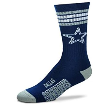 For Bare Feet Adults' Dallas Cowboys 4-Stripe Deuce Socks
