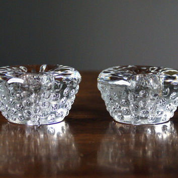 Vintage glass candle holders / candlestick holder from the early 1990s, Scandinavian design (NEW)