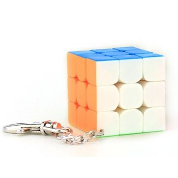 Cubing Classroom 40mm 3x3x3 Speed Magic Cube with Key Chain Puzzle Cube - Colorful