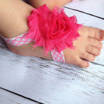 Barefoot Sandals….Pink Baby Barefoot Sandals…Newborn Baby Sandals…Hot Pink Flower