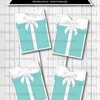 Centerpiece Printable, Breakfast at Tiffany's, Birthday, Party Decorations, Blue Box, DIY, Favors, Chic, Fashion, Modern INSTANT DOWNLOAD