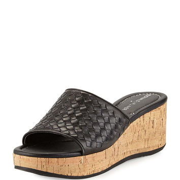 Safari Woven Wedge Sandal, Black - Donald J Pliner