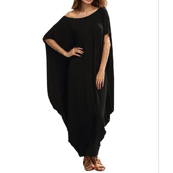 Loose Maxi Dress for Women Batwing Sleeve O-neck Casual Summer Dress Plus Size Party Club T-shirt Dresses Female WS8866M