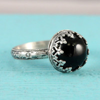 Black onyx ring, sterling silver, vintage style, floral diamond band, Renaissance ring, handmade, crown setting,  goth ring, Gothic style