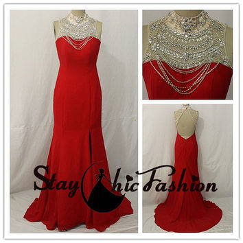 Red Long Rhinestone Beaded High Neck Slit Open Back Jersey Evening Gown, Red beaded Prom Gown