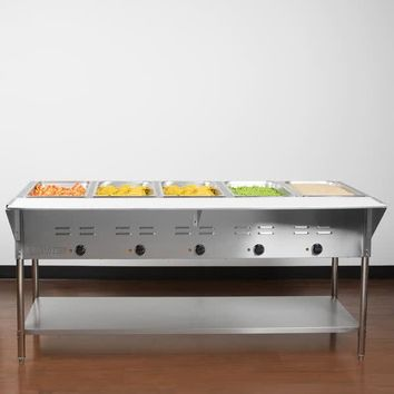 Food Warmer Steamer Five Pan Open Well Electric Steam Table with Under shelf - 208/240V, 5000W