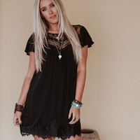 Frolic Lace Sweetheart Dress - Black
